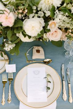 French blue, barely blush, gold and ivory private estate wedding designed by Always Yours Events featuring lush, full and romantic floral centerpieces with bespoke stationery with a custom monogram and crest. Photography by Ashley Largesse