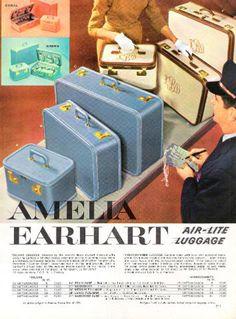 Amelia Earhart air-lite luggage 1959