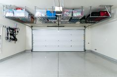 Traditional Garage with High ceiling, simple granite floors