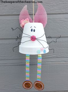 Clay Pot Bunny Wind Chime, Easter wind chime, Easter bunny craft, Terra cotta pot bunny, Easter clay pot, Easter bunny craft