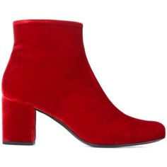 Saint Laurent Babies 70 Velvet Ankle Boots ($815) ❤ liked on Polyvore featuring shoes, boots, ankle booties, velvet ankle boots, short boots, red ankle boots, red bootie and velvet boots