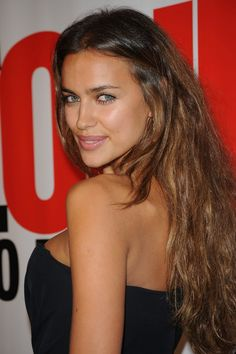 Irina Shayk frizzy but nice hair color. darker crown lighter toward tips.