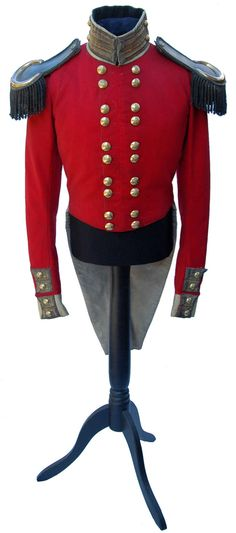 Officer's Coatee and Epaulettes to the 67th Regiment of Foot circa 1840 | From a unique collection of antique and modern arms, armor and weapons at http://www.1stdibs.com/furniture/more-furniture-collectibles/arms-armor-weapons/