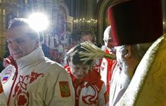 Russian Olympians getting blessed in Moscow
