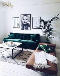 Lush Green Velvet Sofa with Kate Moss Photo