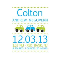 Cars Nursery, Personalized Nursery Wall Art, Birth Announcement Print, Children Artwork, Subway Art, Birth Stats Print, Baby Name Print