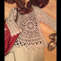 Crochet Sweater from Boston Proper Open crochet sweater in excellent condition. Cami not included. Acrylic/Lurex blend. Sensuously skims the body. Boston Proper Sweaters
