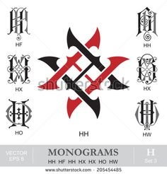 Vintage Monograms HH HF HH HX HX HO HW - stock vector Vintage Monogram, Monogram Logo, Monogram Letters, Graffiti Lettering, Typography Fonts, Lettering Tattoo, Calligraphy Alphabet, Wire Art, Logo Inspiration