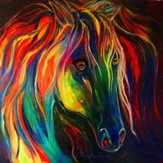 Beautiful colorful horse painting with rainbow colors in horse's long flowing mane, by Pam Herrick at www.JustForYouPropheticArt.com I painted this for my son and it is one of my favorite paintings! A 5x7 print of this is only $5.95! Also available as tote bag, throw pillow, phone case and more. Perfect for the horse lovers and artist alike!