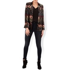 Monsoon Florence Printed Velvet Jacket (€100) ❤ liked on Polyvore featuring outerwear, jackets, floral print jacket, flower print jacket, print jacket, pattern jacket and floral jacket