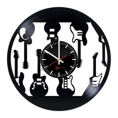 Electric Guitars Design Handmade Vinyl Record Wall Clock - Get unique home room wall decor - Gift ideas for men and women – Musical Instruments Unique Modern Art >>> Find out more about the great product at the image link. (This is an affiliate link) #Clocks