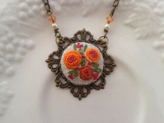Vintage Roses hand embroidery jewelry necklace by ConeBomBom, $25.00