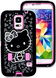 """myLife Three Layer Shockproof """"Built In Screen Protector"""" Security Armor Case for Galaxy S5 by Samsung {Cute Hello Kitty in Pink and Black """"Protective Tuff Shell Design"""" Hybrid Triple Piece BOX Protector Shield with Rubberized Gel} myLife Brand Products http://www.amazon.com/dp/B00QQZYBWQ/ref=cm_sw_r_pi_dp_BN-Xub0X0MFMN"""