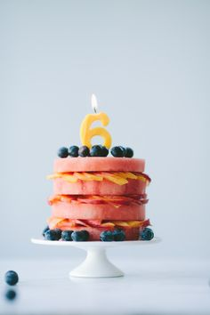 "Fresh Fruit ""Cake"" from Not Without Salt - what a cool idea for a summer birthday party"