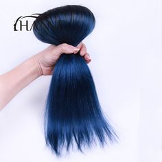 1b blue ombre color 2 bundles Peruvian straight virgin hair 10-12 inch two tone ombre Peruvian straight hair weave fast shipping