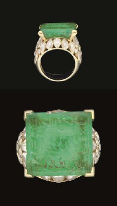 AN ENGRAVED EMERALD AND DIAMOND SET GOLD RING  BY CARTIER, EMERALD ENGRAVED IN INDIA AND DATED AH 1188/1774-5 AD  The table-cut rectangular emerald carved with a very elegant three-line nasta'liq inscription, set as the bezel of a rounded ring, the shoulders set with diamonds, signed inside the shank Mtd Cartier  Emerald 11/16 x ¾in. (1.7 x 1.8cm.)