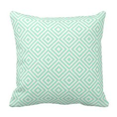 Abstract geometrical squares pattern, mint green pillow