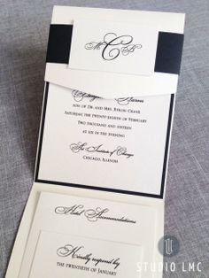 elegant black and quartz shimmer trifold pocket invitation with custom monogram sash