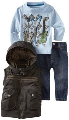 Kenneth Cole Baby-Boys Infant 3 Piece Vest with Tee and Jean Little Boy Outfits, Little Boy Fashion, Baby Boy Fashion, Toddler Fashion, Baby Boy Outfits, Kids Fashion, Fashion News, Cute Baby Boy, Cute Kids