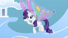 rarity with wings | Animated GIF - Rarity, Wings, Flying, smiling, blinking, Cloudsdale ...