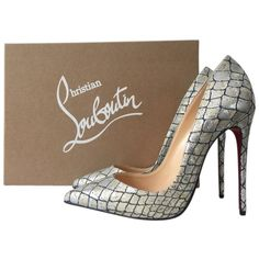 Pre-owned Christian Louboutin Heels ($825) ❤ liked on Polyvore featuring shoes, pumps, apparel & accessories, dress shoes, silver, christian louboutin, blue shoes, high heel dress shoes and pre owned shoes
