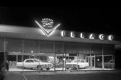 Vintage Advertisements, Vintage Ads, Auto Dealerships, Used Car Lots, Car Dealers, Garage, Chrysler Imperial, Cadillac Fleetwood, Factories