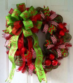 FALL SALE: Whimsical, Red & Green Metallic Striped, with Lime Green Merry Christmas Bow, Deco Mesh Christmas Wreath on Etsy, $75.00