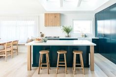 There were no taps, no kitchen benches and no hot water when The Block graduates Kyal and Kara Demmrich first inspected their Central Coast home. Beach House Kitchens, Home Kitchens, Home Renovation, Kyal And Kara, Teal Kitchen, Kitchen Island, Kitchen Brick, Kitchen Reno, Kitchen Dining