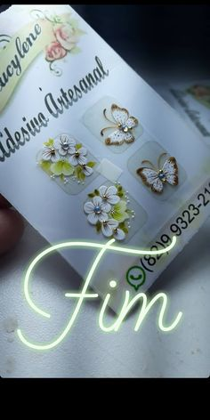 One Stroke Nails, Manicure, Nail Art, White Nail Beds, Chic Nails, Pretty Nails, Butterfly Art, Adhesive, Nail Manicure