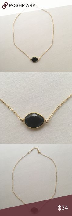 Black onyx gemstone necklace Gold and black onyx gemstone necklace. Originally purchased from a local fine jewelry store for $85. Not Kendra Scott - branded for exposure only Kendra Scott Jewelry Necklaces