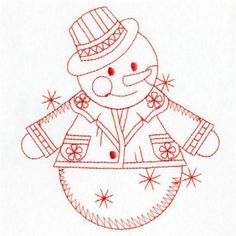 Premium Embroidery Embroidery Design: Redwork Snowman 3.80 inches H x 3.40 inches W