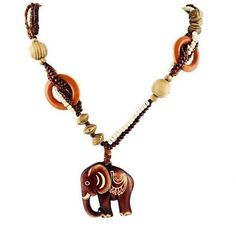 Fashion Jewelry Necklaces Hand Made Wood Elephant Pendant For Women
