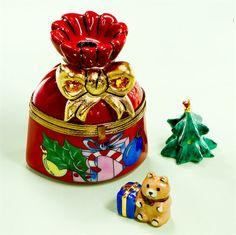 Limoges Christmas Bag Box with Teddy and Tree