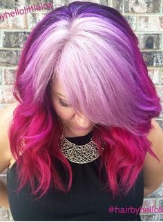 pink purple ombre dyed hair color @hairbyhellolittlefox