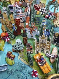 Sara Drake - Tuscany and Umbria detail from a large illustrated map of Italy - papier mache, acrylic paint, balsa wood and mixed media.