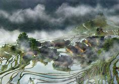 #10 Terraces Village In The Mist, China (© Thierry Bornier)