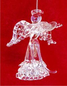 Spun Glass Angel with Violin Christmas Ornament
