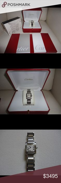 """Cartier Tank Francaise Ladies Watch Cartier Tank Francaise (W51008Q3) SM stainless steel ladies watch. Sole owner, hardly worn. Original packaging. Fits 6"""" wrist, w/extra links. Great condition, very light/min scratches on band. Battery replaced (1/16). Details: Quartz movement, steel case & bracelet w/triple folding steel buckle, 8-sided crown set w/synthetic spinel cabochon, silver-grained dial, blued-steel sword-shaped hands, sapphire crystal, case dimensions: 25.35 mm x 20.3 mm…"""