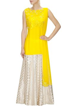 Yellow resham work high low kurta with ivory brocade skirt available only at Pernia's Pop Up Shop.