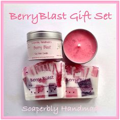 Gift Set, Berry scented soap, Berry scented candle, Handmade beauty products by SoaperblyHandmade on Etsy