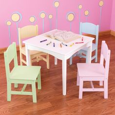 This stylish Nantucket table and chair set is great for board games, tea parties and arts and crafts. With its variety of finish options this furniture set has the ability to complement a variety of interior decors.