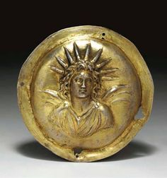 Greek gilt silver roundel, circa late century B. The miniature shield of Argive type hammered and decorated in repousseé with a bust of Alexander the Great as the deity Helios. Greek Sun God, Greek Gods, Ancient Greek Art, Ancient Greece, Alexander The Great, Greek History, Ancient History, Apollo Greek, Objets Antiques