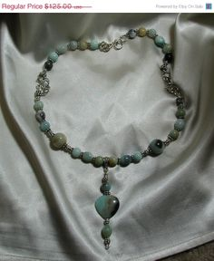 "ON SALE Hand Made Amazonite, Aquamarine & Silver Y Necklace with a 2.5"" Drop Heart Pendant.  Made with Amazonite, Aquamarine and Silver."