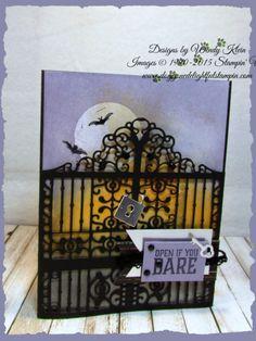 Graveyard Gate Detailed Gate Thinlits Glossy White Cardstock Black Rhinestones Vintage Crochet Ribbon - 1