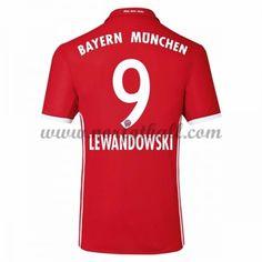 Billige Fotballdrakter Bayern Munich 2016-17 Lewandowski 9 Hjemme Draktsett Kortermet