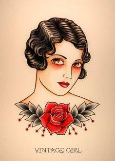 """VINTAGE WOMAN. Ilustración inspirada en los tatuajes """"Old School"""" de los años 20."""