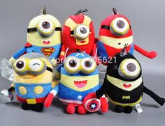 Despicable Me 2 Minions Cosplay 23CM Avengers Captain America Spiderman Superman Batman Thor Ironman Stuffed Plush Cotton Toys #>=#>=#>=#>=#> Click on the pin to check out discount price, color, size, shipping, etc. Save and like it!