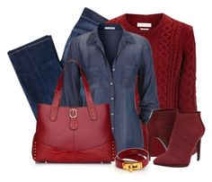 """""""Chambray Shirt for Fall"""" by cassandra-cafone-wright ❤ liked on Polyvore featuring 7 For All Mankind, Étoile Isabel Marant, maurices, Segolene Paris, Jessica Simpson and Hermès"""
