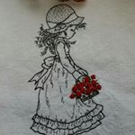 "67 Likes, 1 Comments - @jidong_yoon on Instagram: ""인형을 안은 귀여운소녀~~ #Illustration embroidery  #cute girl with doll illustration embroidery  #일러스트자수 #…"""