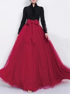 Dark Red Tulle Maxi Skirt with Bow Sash and Extra Wide Hem - Long Flow – RobePlus Indian Fashion Dresses, Indian Gowns Dresses, Dress Indian Style, Indian Designer Outfits, Ball Dresses, Stylish Dress Designs, Designs For Dresses, Stylish Dresses, Lehenga Designs